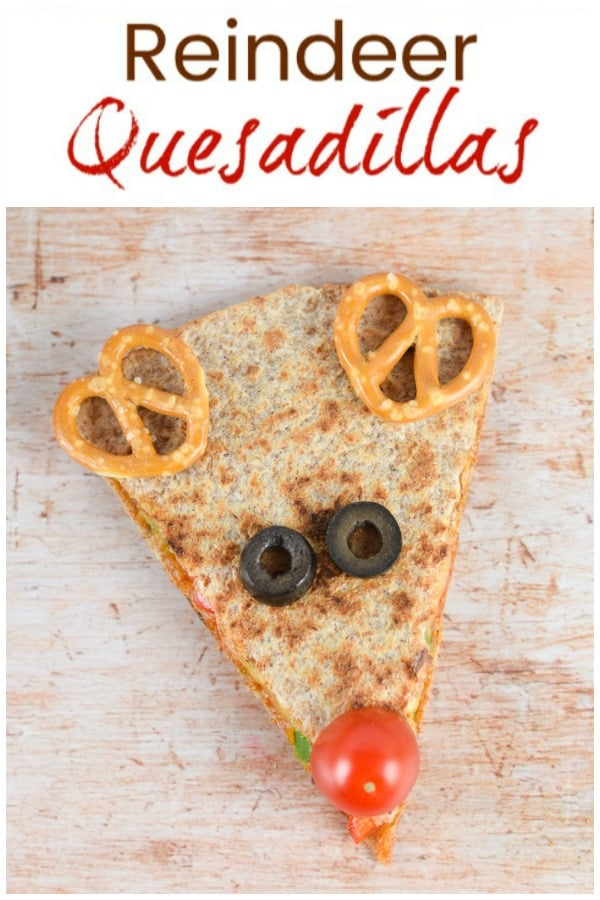 Cute and easy reindeer themed quesadillas - healthy fun Christmas food for kids with step by step recipe photos
