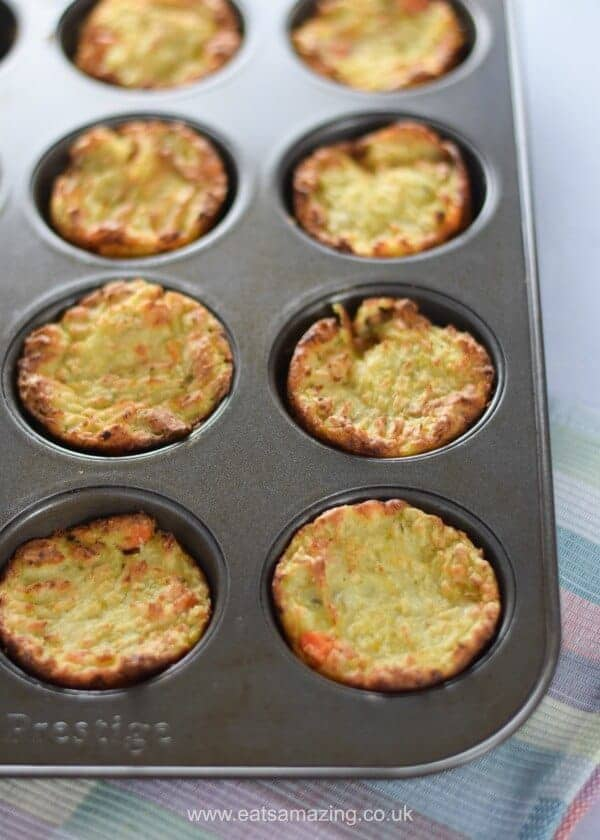 Easy oven baked Bubble and Squeak cooked in a muffin tin - the best way to use up leftover vegetables - Eats Amazing UK
