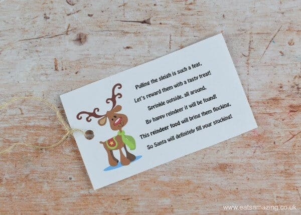 Free printable labels for Wildlife and Bird Friendly Reindeer Food - fun and easy gift for kids to make for Christmas - Eats Amazing U