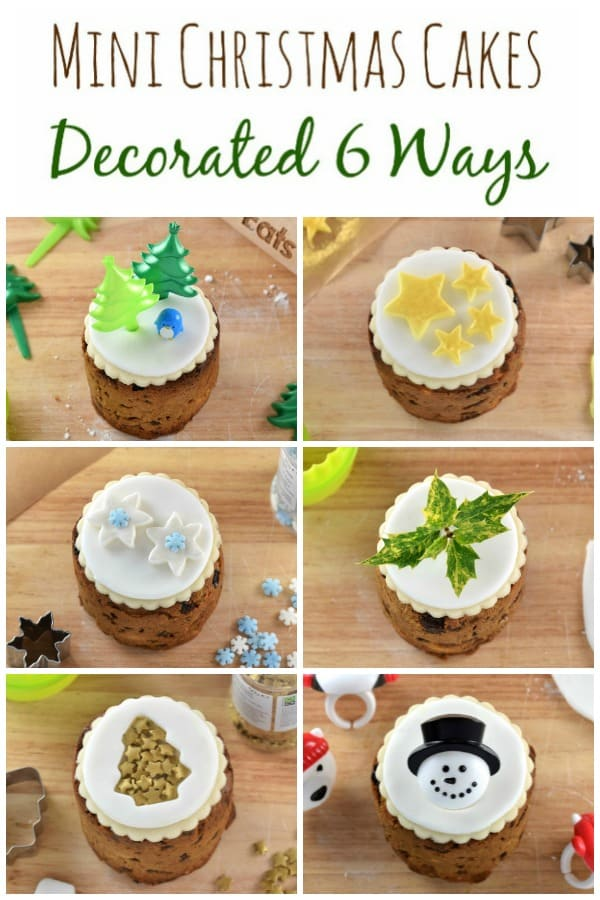 How to decorate tin can Christmas cakes - 6 super easy Christmas cake designs on mini Christmas cakes - a fun festive baking project for kids or adults