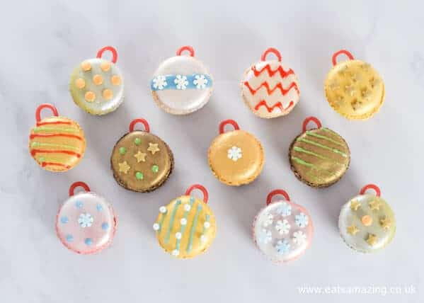 How to make Christmas macaron baubles - a quick and easy fun festive dessert or party food idea from Eats Amazing UK