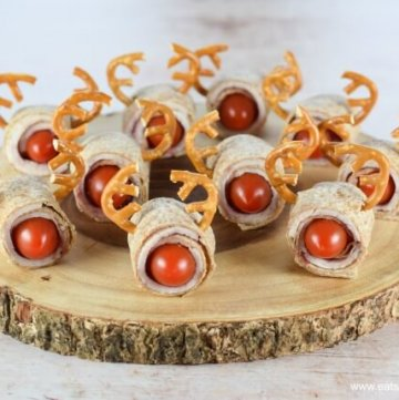 How to make cute and easy Rudolf Reindeer Tortilla Turkey Roll-Ups - Healthy and Fun Christmas Food for Kids from Eats Amazing UK