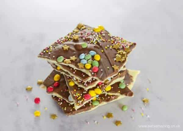 How to make double chocolate fireworks bark - a quick and easy treat recipe for New Years Eve or Bonfire Night - fun food for kids from Eats Amazing UK