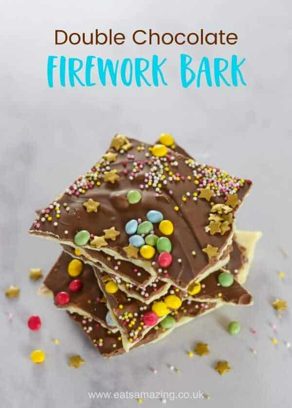 How to make double chocolate fireworks bark - quick and easy treat recipe for New Years Eve or Bonfire Night - fun food for kids from Eats Amazing UK