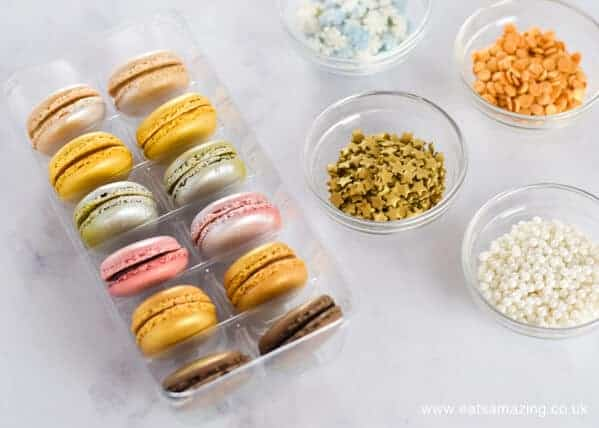 How to make festive macaron baubles - a fun Christmas dessert or party food idea from Eats Amazing UK - Sprinkles