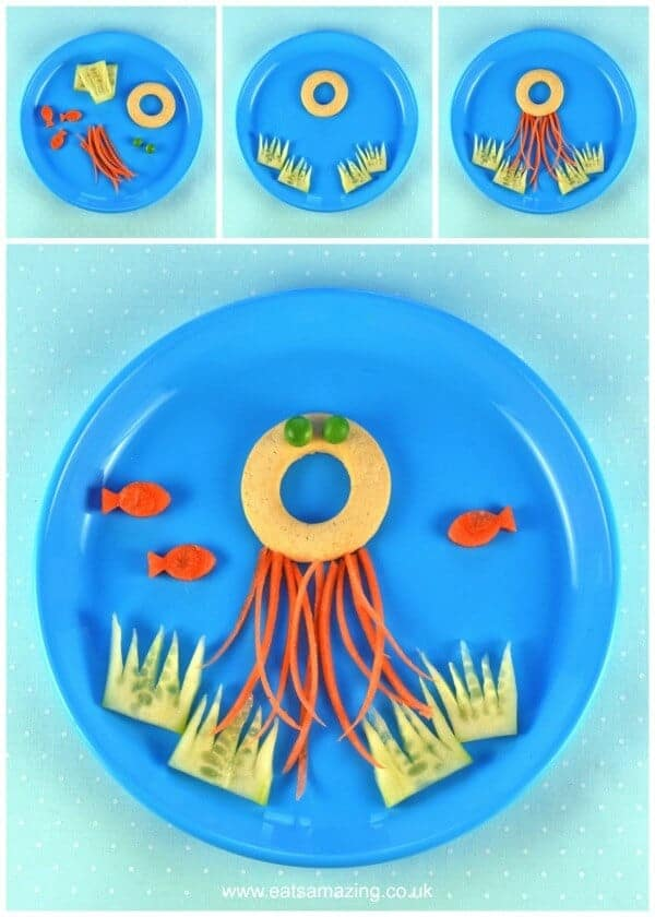 Jellyfish - 4 Fun and easy healthy food art plates for toddlers with step by step instructions - Eats Amazing UK