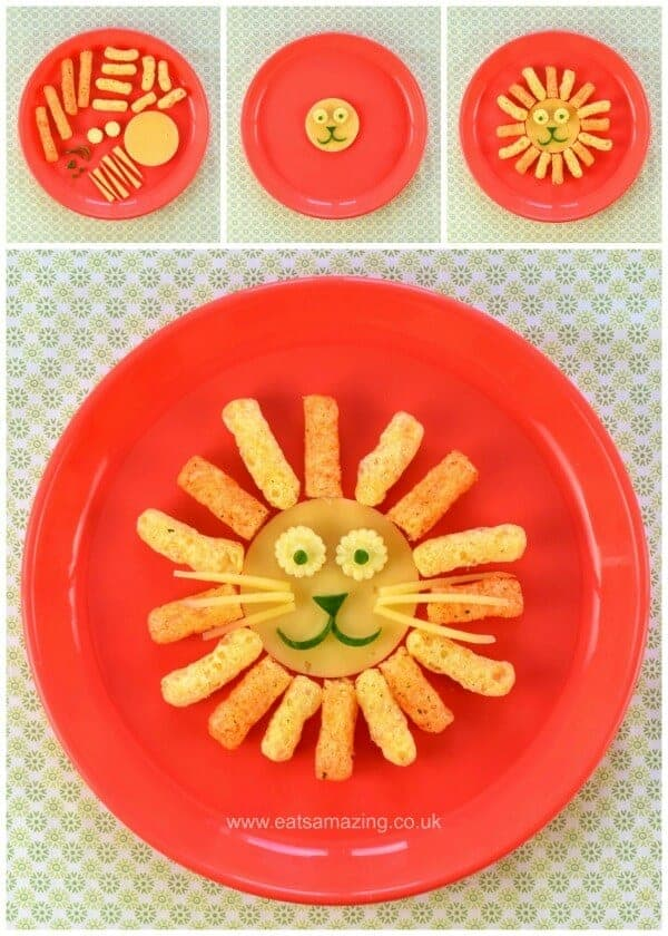 Lion - 4 Fun and easy healthy food art plates for toddlers with step by step instructions - Eats Amazing UK
