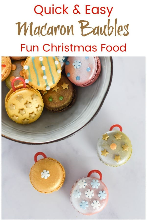 Quick and easy fun Christmas cheats recipe - turn ready-made macarons into Christmas baubles for a festive dessert or party food idea