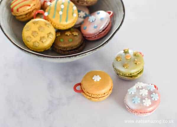 Quick and easy fun Christmas food hack - how to make Festive macaron baubles - a fun dessert or party food idea from Eats Amazing UK