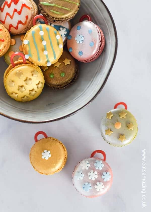 Quick and easy fun Christmas food hack - turn macarons into Christmas baubles for a fun dessert or party food - Eats Amazing UK