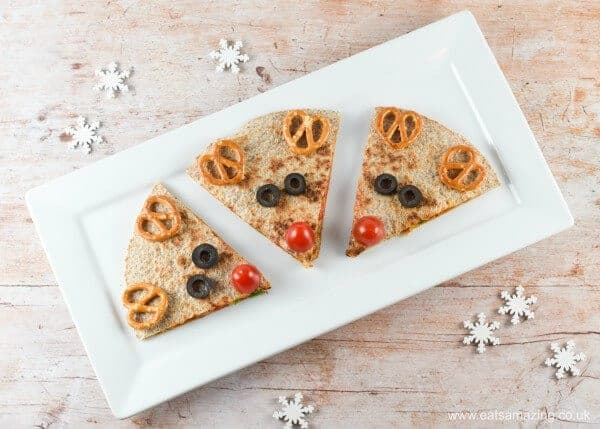 Quick and easy reindeer quesadillas - healthy fun Christmas food for kids - festive great party food idea - Eats Amazing UK