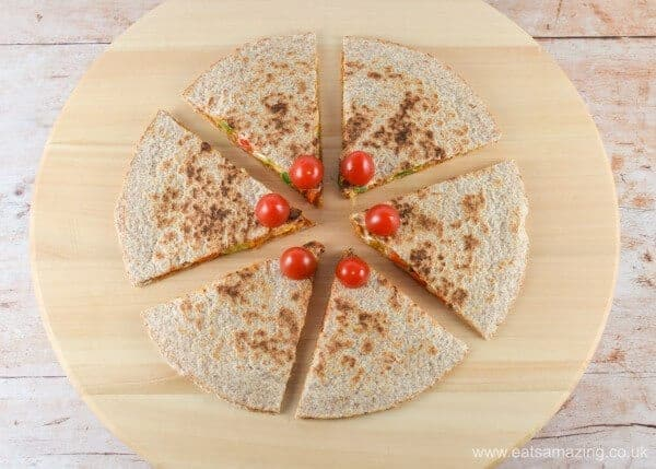 Quick and easy reindeer quesadillas - healthy fun Christmas food for kids from Eats Amazing UK - Step 5 Tomato Noses