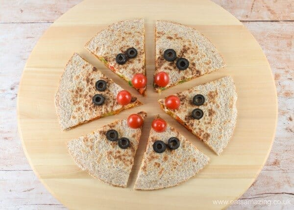 Quick and easy reindeer quesadillas - healthy fun Christmas food for kids from Eats Amazing UK - Step 6 Olive Eyes
