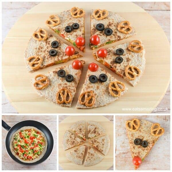 Quick and easy reindeer quesadillas - healthy fun Christmas food for kids from Eats Amazing UK