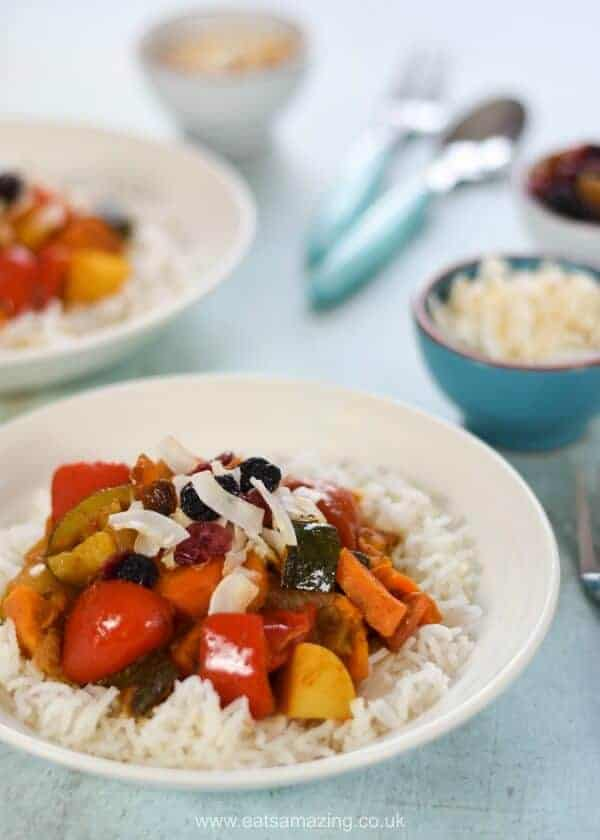 Quick and easy vegetable curry recipe - child friendly and great for a family meal - Eats Amazing UK