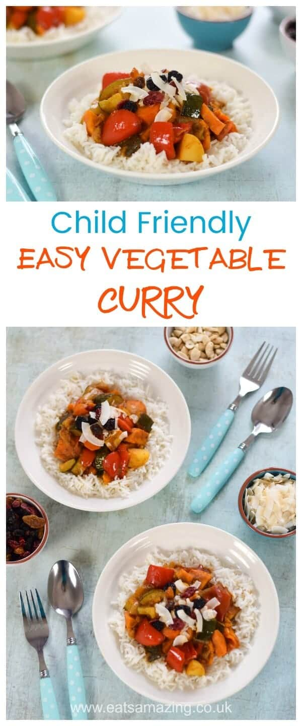 Quick and easy vegetable curry recipe - child friendly and great for a weeknight family meal - Eats Amazing UK #familydinner #meals #curry #easyrecipe #kidsfood #kidfriendly #healthyrecipes #healthykids #vegetarianrecipes #vegetarian #dairyfree #glutenfree #glutenfreerecipes