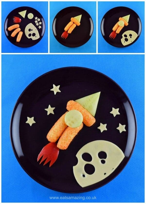 Rocket - 4 Fun and easy healthy food art plates for toddlers with step by step instructions - Eats Amazing UK