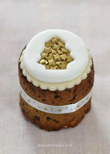 Six super easy Christmas cake designs on mini Christmas cakes - gold Christmas tree cake from Eats Amazing UK