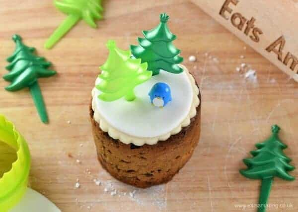 Tin Can Christmas Cakes - how to decorate mini Christmas cakes - 6 fun designs from Eats Amazing UK - Christmas Tree Picks