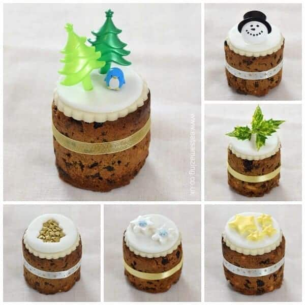 Tin Can Christmas Cakes - how to decorate mini Christmas cakes - 6 fun designs from Eats Amazing UK