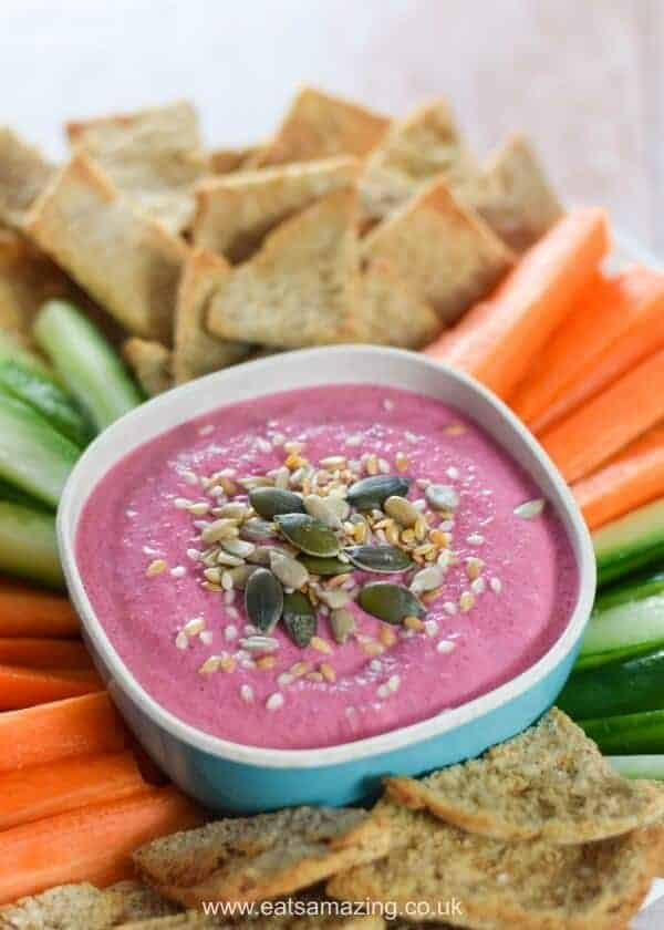 3 ingredient easy cream cheese beetroot dip recipe - great for party platters healthy snacks and lunch boxes - Kid friendly food