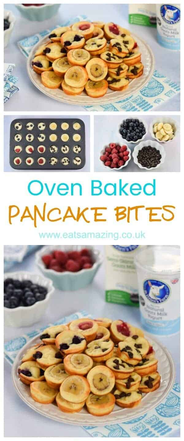 Easy oven baked yogurt pancake bites recipe made in a mini muffin tin - fun and healthy breakfast idea for kids from Eats Amazing UK #pancakes #pancakeday #breakfast #goatmilk #goatyogurt #minimuffintin #muffintin #ovenbaked #healthybreakfast #breakfastrecipes #easyrecipe #kidsfood #kidfriendly #familyfood #familyfriendly #vegetarianrecipes