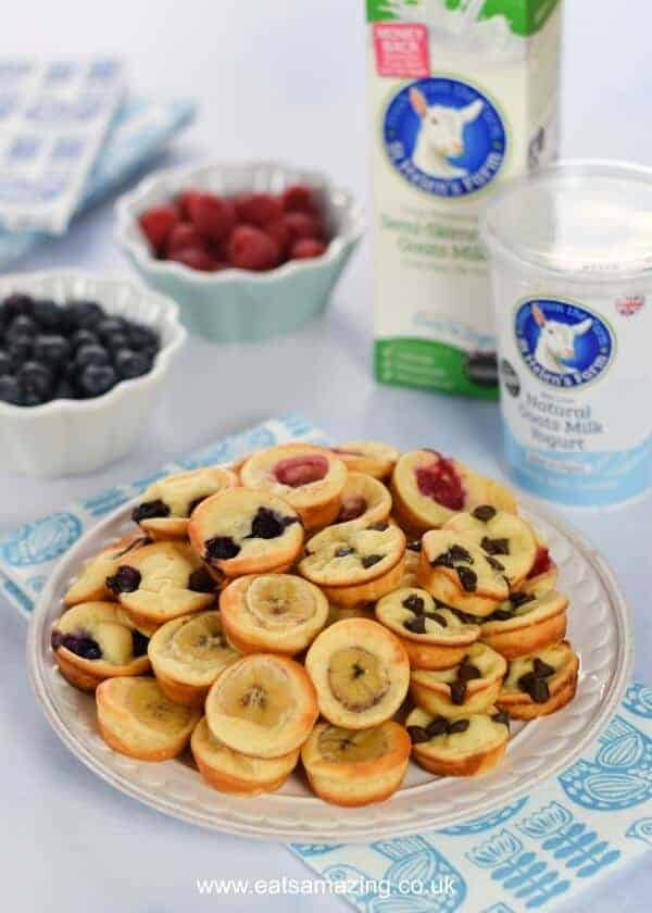Easy oven baked yogurt pancake bites recipe with goats yogurt - fun breakfast idea for kids from Eats Amazing UK