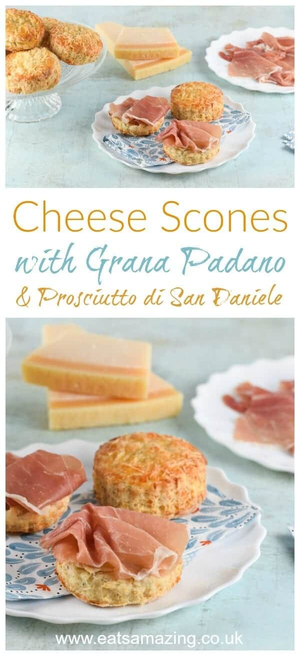How to make British cheese scones with Grana Padano cheese -kid friendly easy recipe from Eats Amazing UK - perfect for afternoon tea picnics and lunch boxes #cheese #granapadano #prosciutto #scones #easyrecipe #recipe #familyfood #kidsfood #baking #picnic #afternoontea #lunchbox