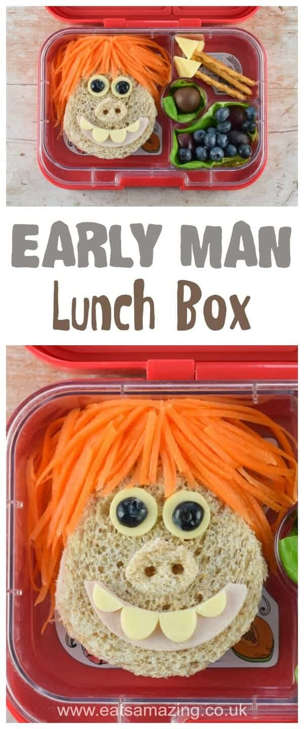 How to make a fun bento lunch themed on the film Early Man with Dug sandwich and edible spears - fun food for kids from Eats Amazing UK #EarlyMan #bento #lunch #lunchbox #kidslunch #schoollunch #bentobox #sandwich #foodart #edibleart #funfood #kidsfood #movie