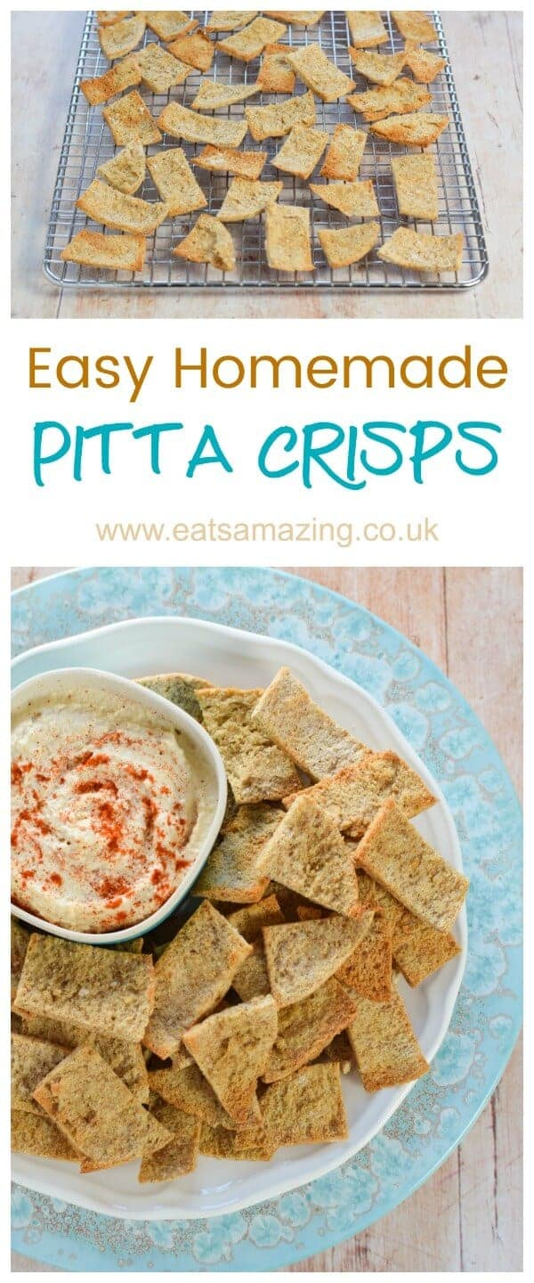 How to make homemade pitta crisps - quick and easy recipe for kids - great for party food snacks and lunch boxes - Eats Amazing UK #easyrecipe #pitta #crisps #snacks #partyfood #kidsfood #healthykids #lunchbox #leftovers #healthysnacks #3ingredients #familyfood #kidfriendly #familyfriendly