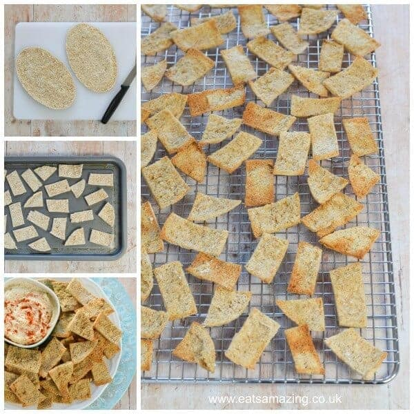 How to make homemade pitta crisps - quick and easy recipe - great for party food snacks and lunch boxes - Eats Amazing UK