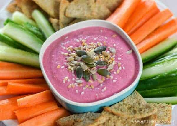 Quick and easy beetroot dip recipe - perfect for party platters healthy snacks and lunch boxes - family friendly food from Eats Amazing