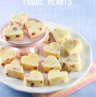 Strawberries & Cream White Chocolate Fudge Hearts Recipe