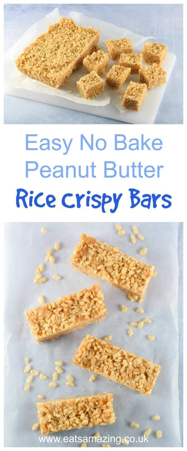 3 ingredient no bake peanut butter rice crispy bars recipe - quick easy and a great snack idea for the whole family - Eats Amazing UK #easyrecipe #nobake #peanutbutter #cerealbar #snack #kidsfood #healthykids #3ingredients #ricekrispies #familyfood #snackidea #dairyfree #vegetarianrecipes