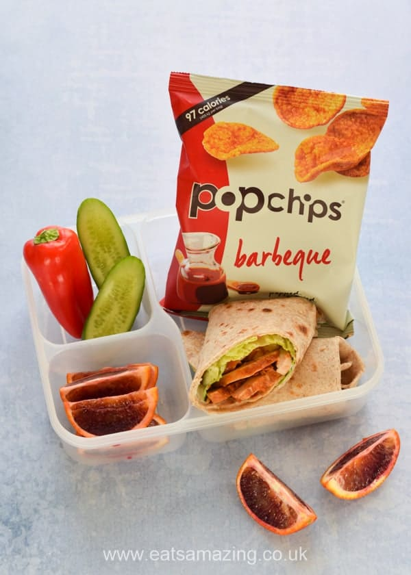 3 lunch ideas with homemade tortilla wraps and pop chips - BBQ chicken - Eats Amazing