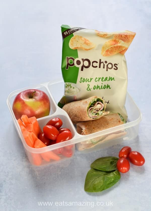 3 lunch ideas with homemade tortilla wraps and pop chips - ham and spinach - Eats Amazing