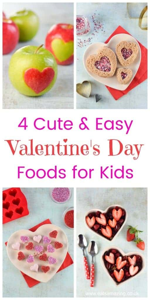4 cute and easy Valentines Day food ideas for kids - they'll love these heart shaped fun food ideas - Eats Amazing UK #valentinesday #valentines #valentinesfood #cutefood #funfood #foodart #edibleart #kidsfood #healthykids #familyfood #tutorials #easyrecipe #hearts #partyfood #weddingfood #love