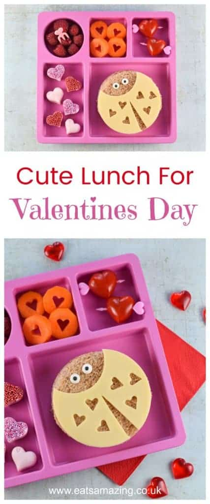 Cute Valentines Day lunch for kids with fun Love Bug sandwiches - including video tutorial for making all the fun food ideas - Eats Amazing UK #valentinesday #valentines #kidsfood #funfood #cutefood #foodart #edibleart #lunchideas #hearts #funlunch #bento #healthykids #lunch #sandwich #ladybug