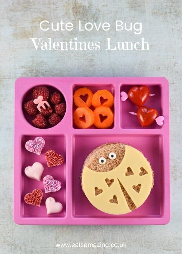 Cute Valentines Day lunch plate for kids with fun Love Bug sandwiches - including video tutorial for making all the fun food ideas - Eats Amazing UK