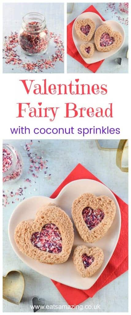 Cute heart shaped fairy bread sandwiches for Valentines Day with homemade coconut sprinkles - healthy Valentines food for kids - Eats Amazing UK #valentinesday #valentines #hearts #sandwich #fairybread #cutefood #funfood #foodart #edibleart #kidsfood #healthykids #sandwichart #lunch #lunchbox #sprinkles