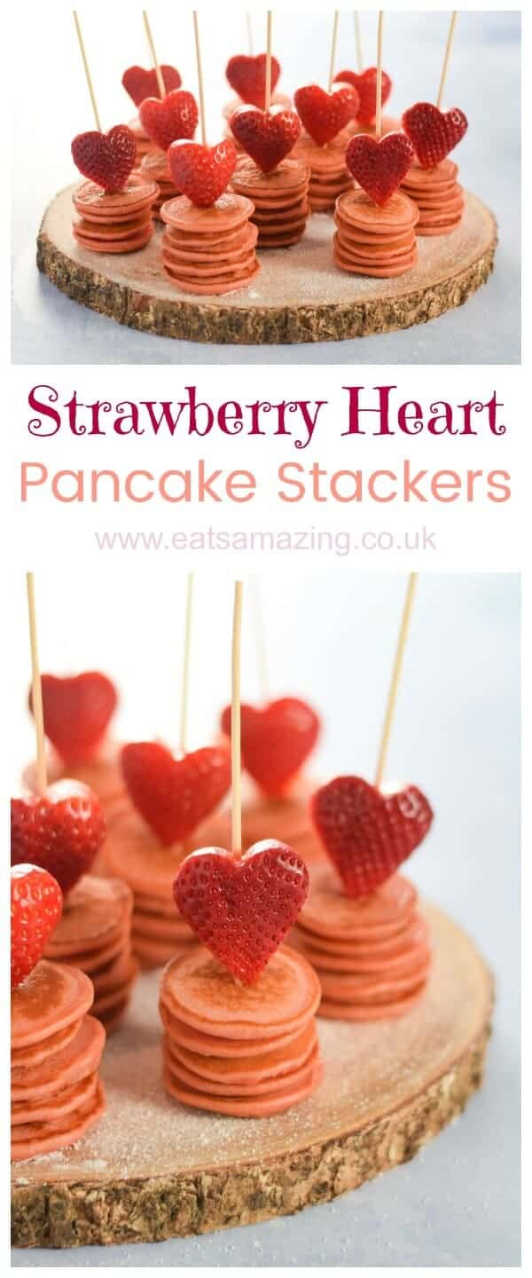 Cute strawberry heart topped mini pancake stackers recipe - perfect for a fun Valentines breakfast for kids - Eats Amazing UK #love #valentinesday #valentines #hearts #pancakes #pancakeday #breakfast #breakfastrecipes #kidsfood #foodforkids #healthkids #funfood #cutefood #foodart