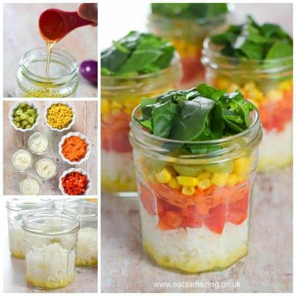 Easy Rainbow Rice Salad Jars Recipe with simple homemade salad dressing - fun and healthy lunch idea from Eats Amazing UK