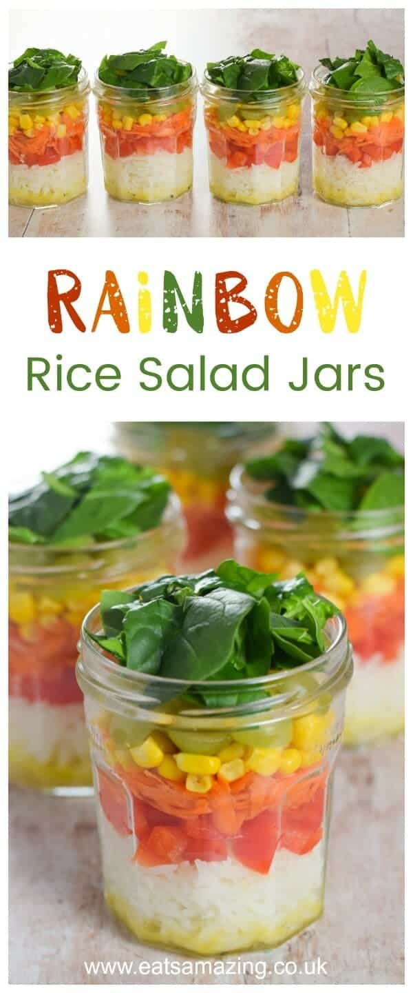 Easy Rainbow Rice Salad Jars Recipe with simple salad dressing - fun and healthy lunch idea from Eats Amazing UK #rainbowfood #rainbow #healthyeating #healthyliving #rice #vegetarian #vegetarianrecipes #salad #kidsfood #healthykids #picnic #lunch #lunchideas #jar #funfood