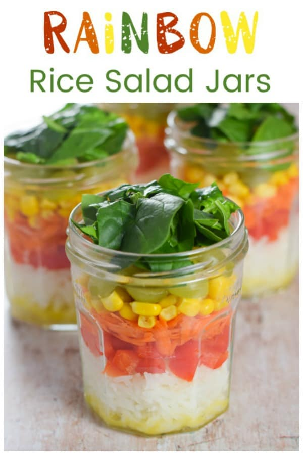 Easy Rainbow Rice Salad Jars Recipe with simple salad dressing - quick fun and healthy lunch idea