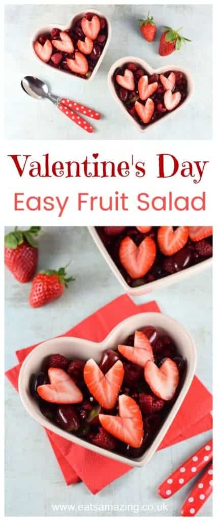 Easy Valentines Day fruit salad recipe - fun and healthy Valentines food for kids - Eats Amazing UK #valentinesday #valentines #fruitsalad #fruits #easyrecipe #kidsfood #healthykids #cookingwwithkids #hearts #strawberries #berries #dessertrecipes #healthydessert #familyfood #funfood #cutefood
