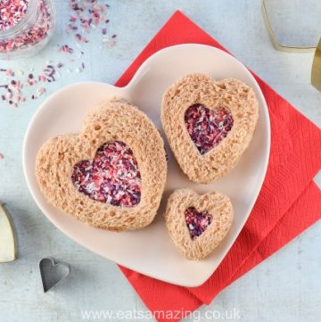 Heart Fairy Bread Sandwiches for Valentine's Day