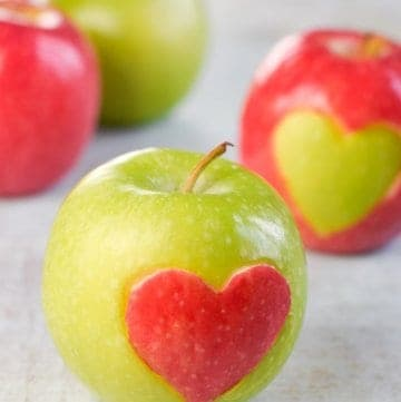 Fun Food Tutorial for easy Heart Apples - a cute healthy Valentines Day food idea for Kids - Eats Amazing UK