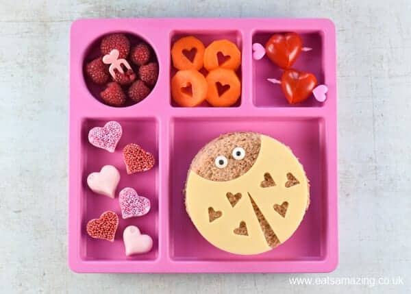 Fun Valentines Day lunch for kids with cute and easy Love Bug sandwiches - including video tutorial for making all the fun food ideas - Eats Amazing UK