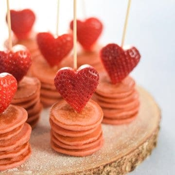 Strawberry Heart Topped Mini Pancake Stacks Recipe