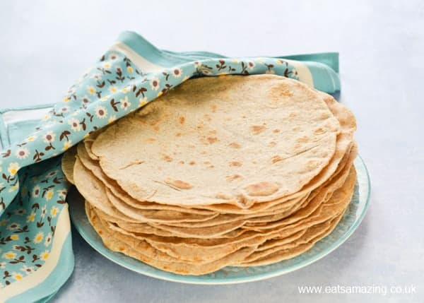 Healthy Tortilla Wraps recipe with coconut oil and wholemeal flour - Eats Amazing UK